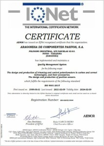 IQNet AENOR certificate ISO 9001-2021 (09-02-2024)
