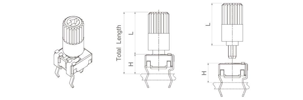 V potentiometer + shaft