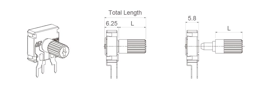 H potentiometer + shaft