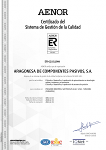 Certificado del SGC AEONOR (15-02-2018)