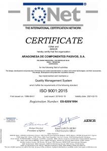 IQNet AEONOR certificate ISO 9001-2015 (15-02-2018)