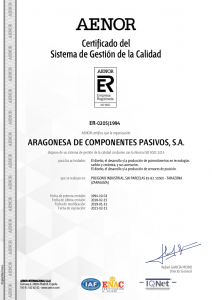Certificado del SGC AEONOR (15-02-2019)