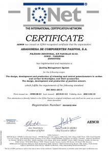 IQNet  AEONOR certificate ISO 9001-2015 (15-02-2019)